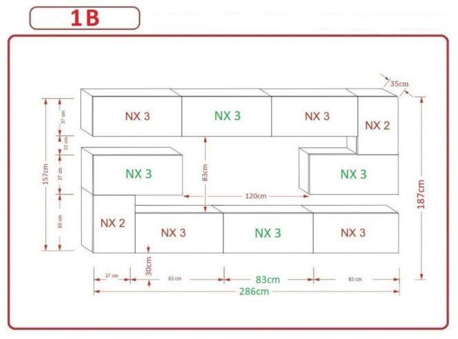 Kedvencbutor.hu AN-1 1B nappali bútor méretek