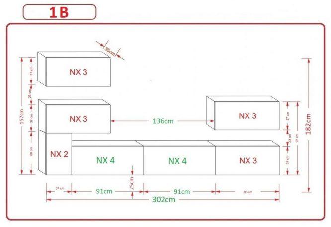 Kedvencbutor.hu AN-123 1B nappali bútor méretek