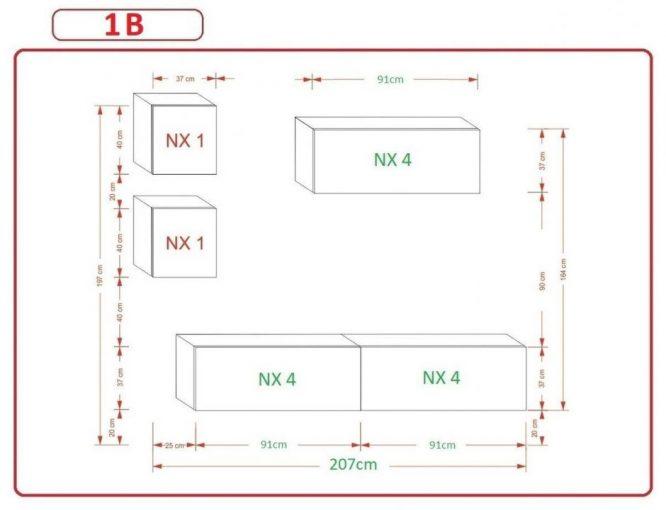 Kedvencbutor.hu AN-269 1B nappali bútor méretek