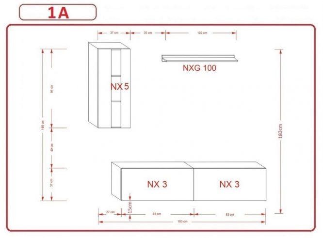 Kedvencbutor.hu AN-271 1A nappali bútor méretek