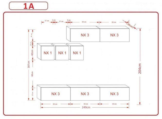 Kedvencbutor.hu AN-273 1A nappali bútor méretek