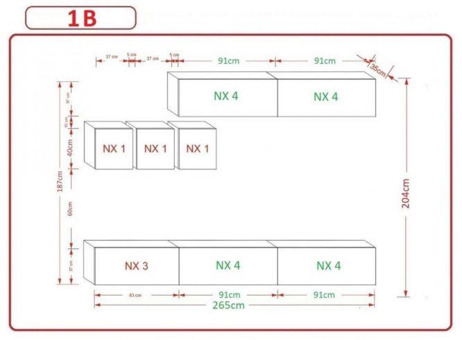 Kedvencbutor.hu AN-273 1B nappali bútor méretek