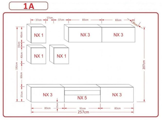 Kedvencbutor.hu AN-277 1A nappali bútor méretek