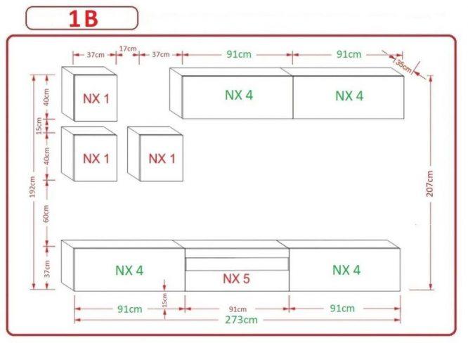 Kedvencbutor.hu AN-277 1B nappali bútor méretek