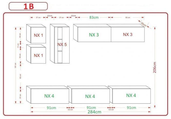 Kedvencbutor.hu AN-280 1B nappali bútor méretek