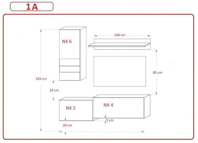 Kedvencbutor.hu AN-290 1A nappali bútor méretek