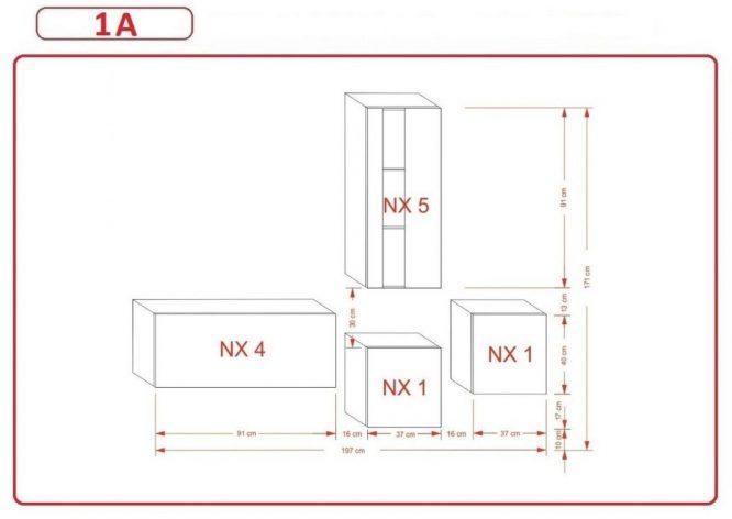 Kedvencbutor.hu AN-293 1A nappali bútor méretek