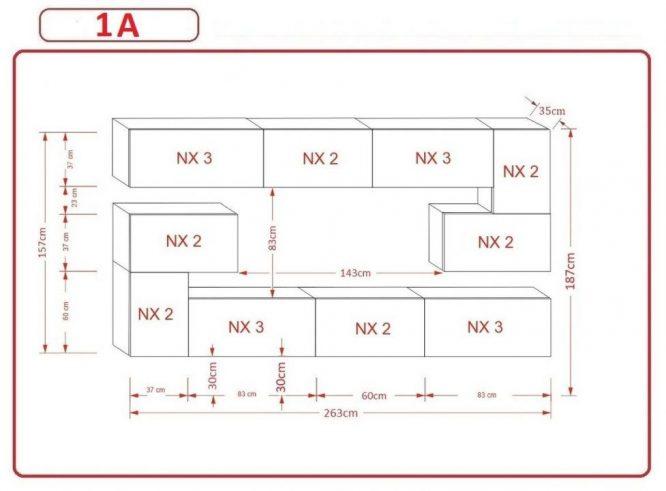 Kedvencbutor.hu AN-3 1B nappali bútor méretek
