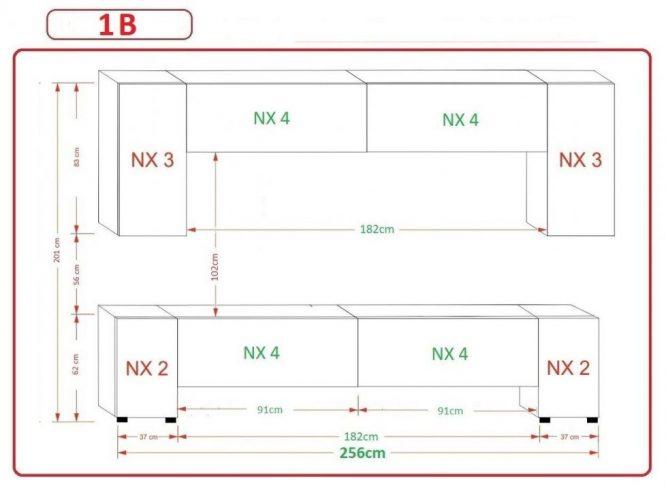 Kedvencbutor.hu AN-33 1B nappali bútor méretek