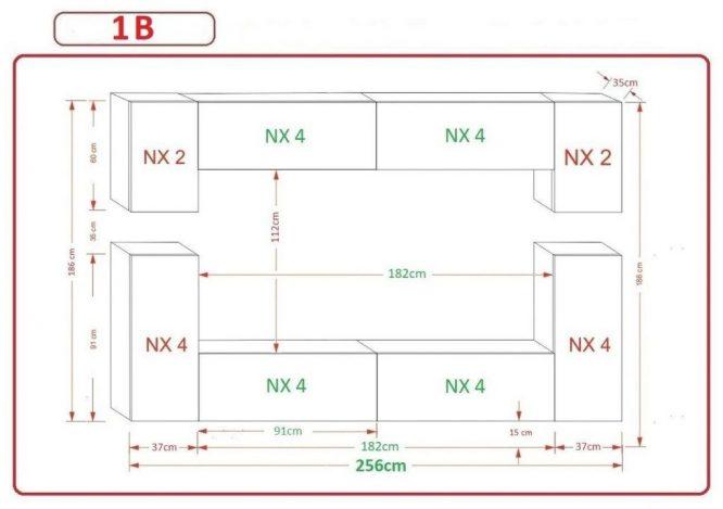 Kedvencbutor.hu AN-43 1B nappali bútor méretek