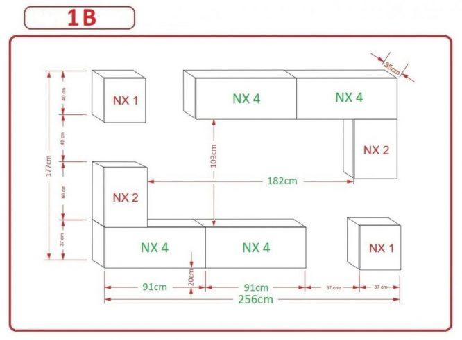 Kedvencbutor.hu AN-5 1B nappali bútor méretek