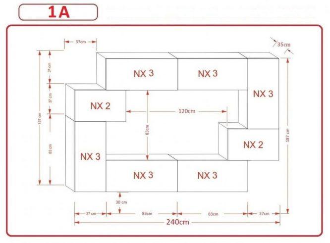 Kedvencbutor.hu AN-6 1A nappali bútor méretek