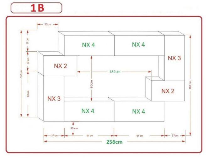 Kedvencbutor.hu AN-6 1B nappali bútor méretek