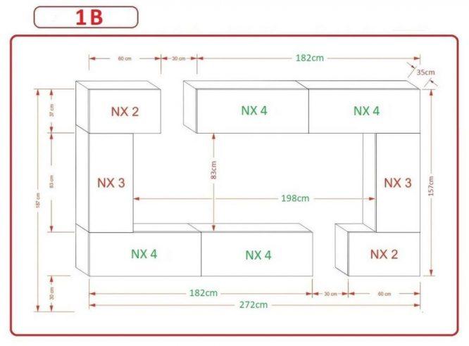 Kedvencbutor.hu AN-7 1B nappali bútor méretek
