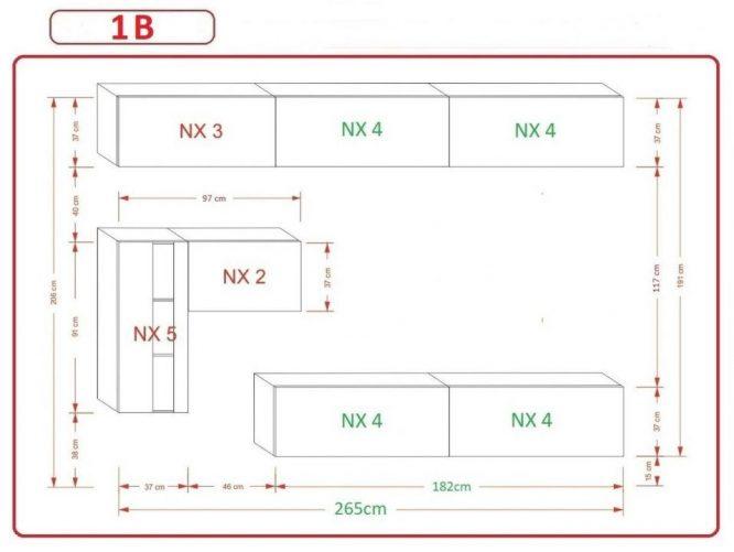 Kedvencbutor.hu AN-81 1B nappali bútor méretek