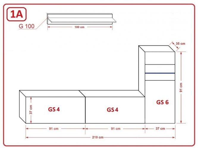 kedvencbutor.hu-concept 52 modern nappali bútor méretek ( 219 cm-es )